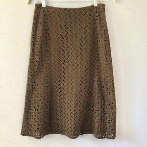 J. Crew Brown Cotton Eyelet Midi Skirt